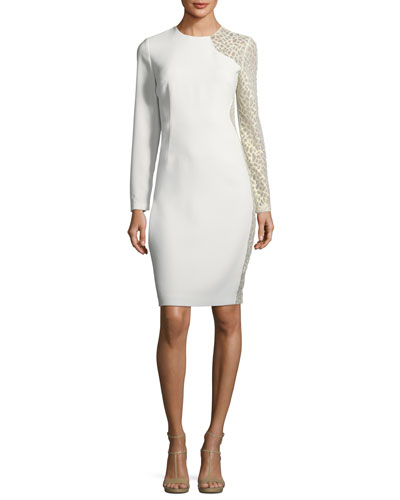 Devalynne Long-Sleeve Lace-Side Dress