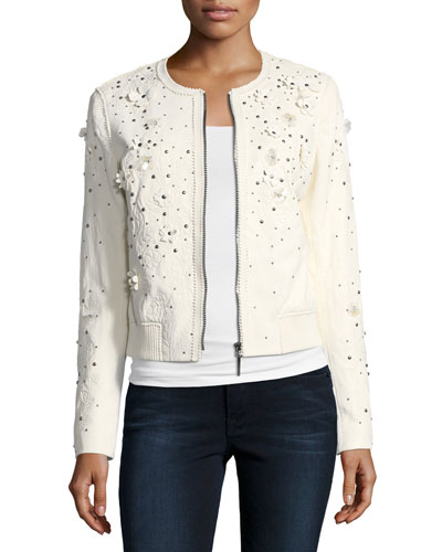 Glenna Studded Flower Applique Leather Jacket