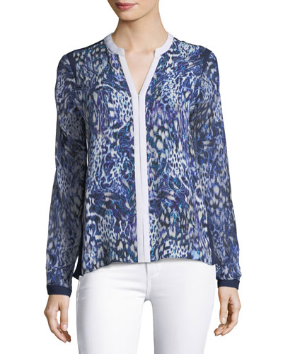 Layne Abstract-Print Silk Blouse