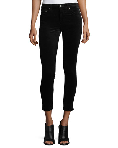 High-Rise Skinny-Leg Velvet Pants