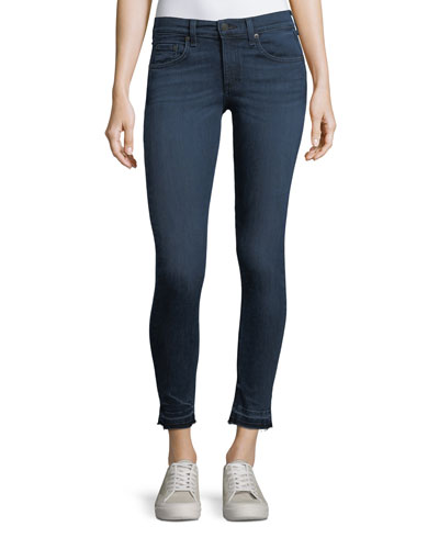 High-Rise Skinny-Leg Ankle Jeans w/ Released Hem