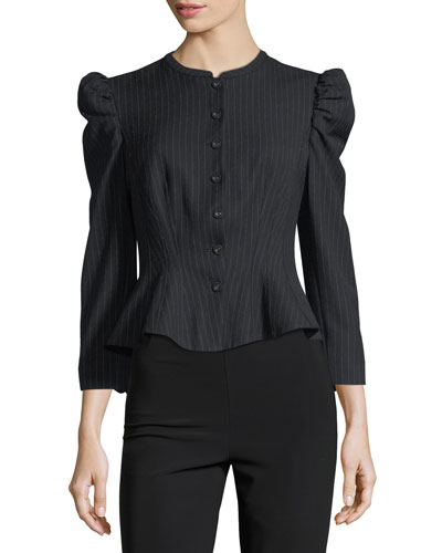 Button-Front Pinstripe Jacket