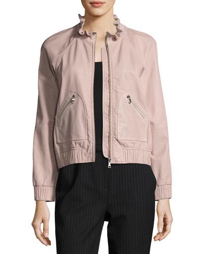 Lamb Leather Zip-Front Bomber Jacket