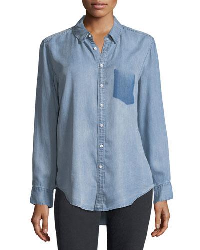 Nassau Manhattan Button-Front Mid-Wash Chambray Shirt