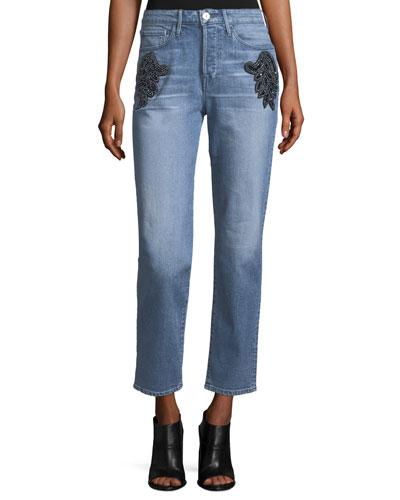 Burke High-Rise Beaded Boyfriend Crop Jeans