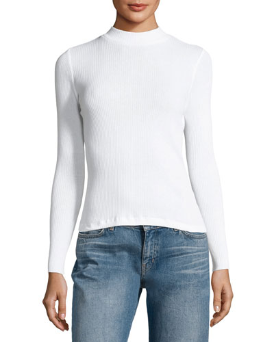 Mock-Neck Ribbed Cotton Top