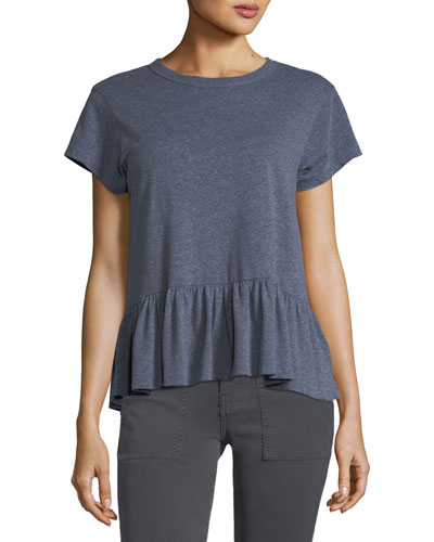 The Ruffle Crewneck Short-Sleeve Heathered Tee