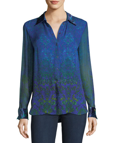 Martha Long-Sleeve Snap-Front Printed Silk Blouse