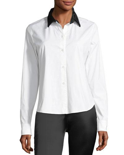 Button-Front Velvet Collar Fancy Shirt