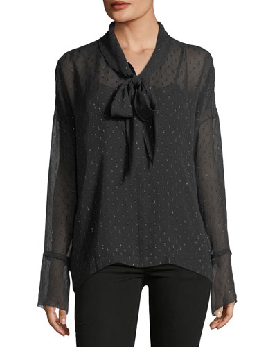 Long-Sleeve Metallic Silk Scarf Shirt