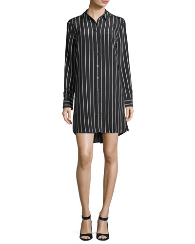 Carmine Striped Button-Front Silk Shirtdress