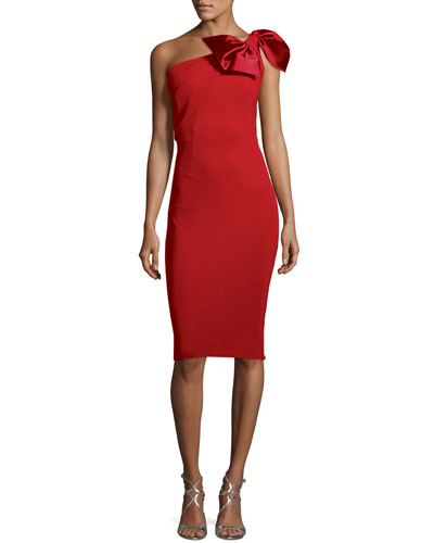 Jasmine One-Shoulder Satin Bow Cocktail Dress
