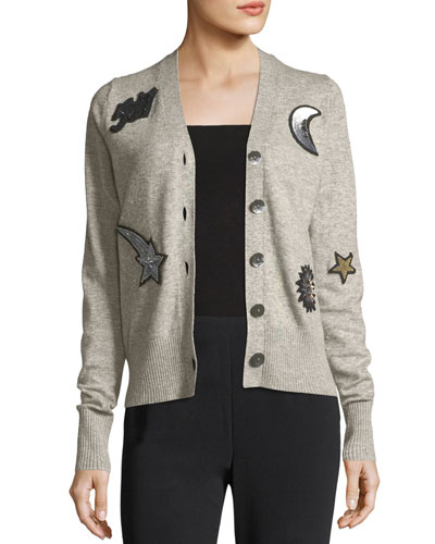 Dillon Button-Front Wool-Blend Cardigan with Patchwork