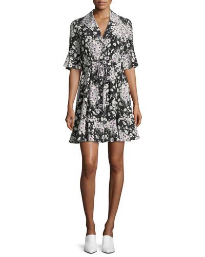 Arabella Short-Sleeve Button-Front Silk Mini Dress