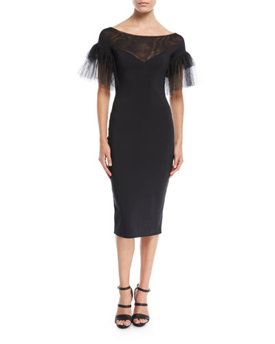 Risa Illusion-Neck Tulle-Sleeve Cocktail Dress