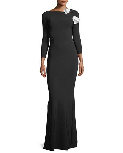 Sondra Asymmetric-Neck Long-Sleeve Bow Gown