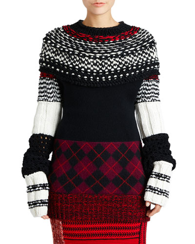 Oversized Argyle Knit Sweater
