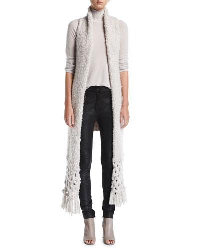 Fringed Knit Cashmere Vest