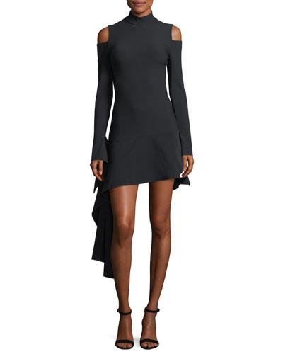 Alia Mock-Neck Cold-Shoulder Mini Dress w/ Drape Detail