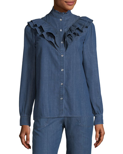 Suzie Ruffled Denim Blouse