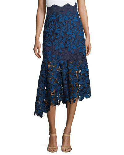 Asymmetric Mosaic Lace Midi Skirt