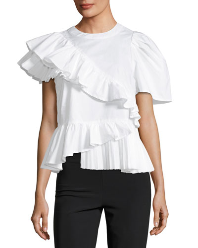 Asymmetric Ruffled Cotton Tee