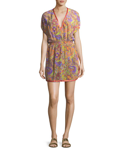 V-Neck Blouson Printed Silk Coverup Mini Dress
