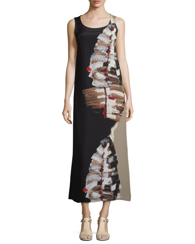 Palmer Impasto-Leaf Draped Dress