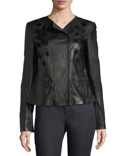 Caridee Floral-Appliqué Leather Jacket