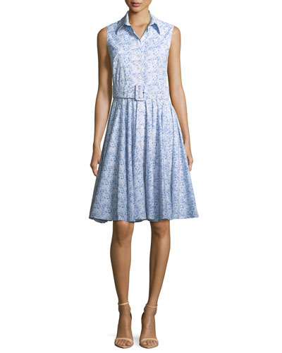 Gigi Sleeveless Floral-Print Shirtdress