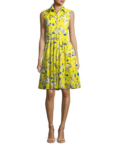 Gigi Sleeveless Poppy-Print Shirtdress