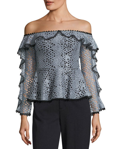 Sylvana Off-the-Shoulder Lace Top w/ Ruffled Trim