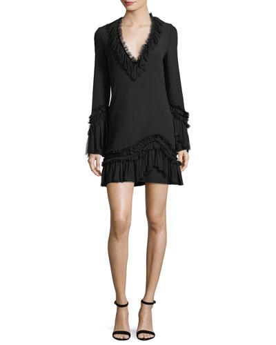 Azur Deep-V A-line Dress w/ Ruffled Trim