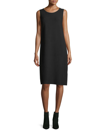 Matte Crepe Sweater Dress w/Links Stitching