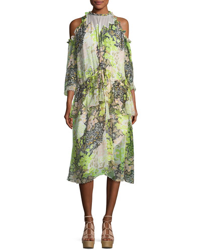 High-Neck Floral-Print Midi Dress with Ruffled Frills