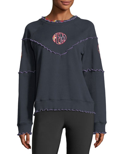 Lettuce-Edge Raglan Cotton Sweatshirt w/ Patches