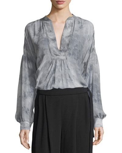 Watercolor Marble Shirred Silk Blouse