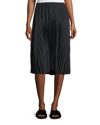 Pleated Seamed Midi Skirt