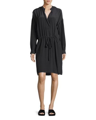 Shirred Drawstring Long-Sleeve Silk Dress