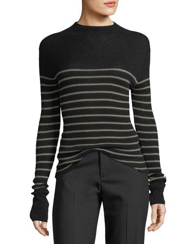 Striped Mock-Neck Cashmere Sweater