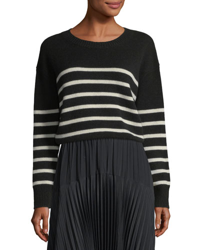 Striped Boxy Crewneck Cashmere Sweater w/ Tie