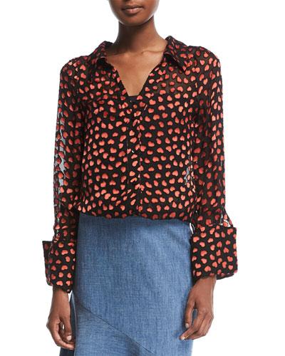 Emmerson Heart-Burnout Velvet Shirt