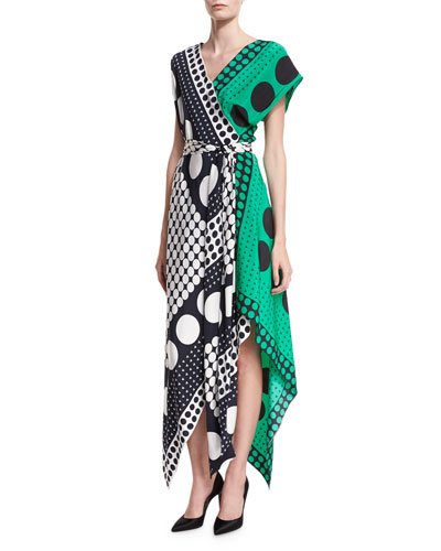 Dot-Print Asymmetric Cap-Sleeve Scarf Dress
