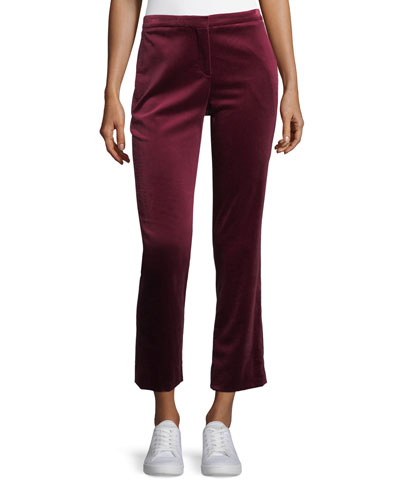 Stretch Velvet Cropped Straight-Leg Tux Pants