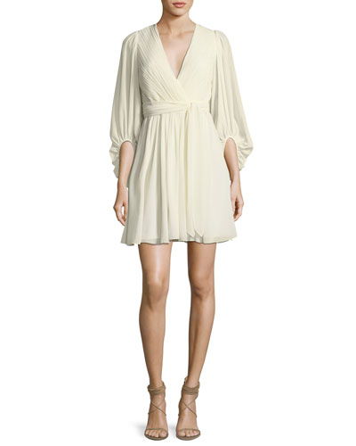 Full-Sleeve V-Neck Plisse Chiffon Cocktail Dress