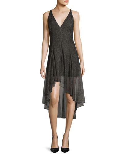 Sleeveless V-Neck Metallic Lace Cocktail Dress
