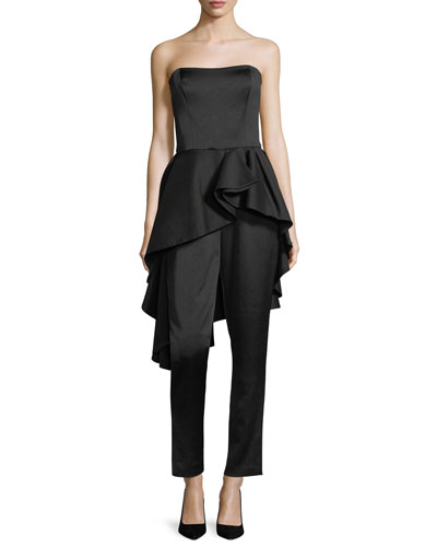 Strapless Satin Straight-Leg Jumpsuit w/ Flounce Skirt