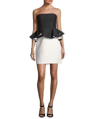 Strapless Mini Peplum Colorblock Dress