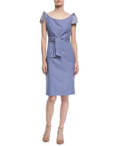 Candice Striped Shirting Tie Dress