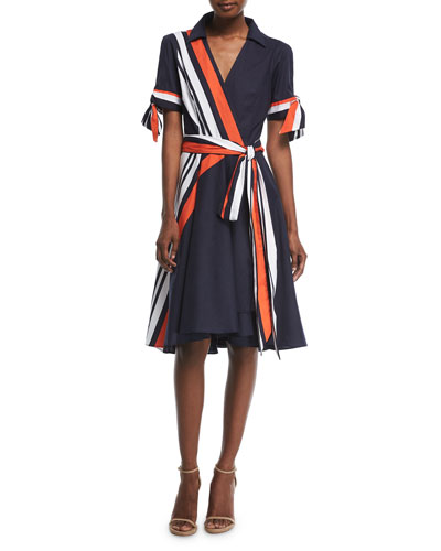Valerie Stretch-Poplin Midi Wrap Dress